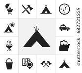 set of 12 editable camping... | Shutterstock .eps vector #682721329