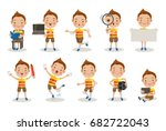 kids different pose  about... | Shutterstock .eps vector #682722043