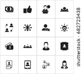 set of 16 editable business... | Shutterstock .eps vector #682723438