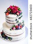 tiered wedding rose and berries ... | Shutterstock . vector #682723603