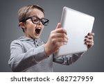 shocked and surprised boy on...   Shutterstock . vector #682727959