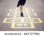 child playing hopscotch on... | Shutterstock . vector #682727980