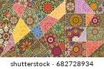 vector patchwork quilt pattern. ... | Shutterstock .eps vector #682728934
