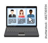 laptop with hr candidates list. ... | Shutterstock .eps vector #682730554
