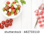 caprese salad. frame. copy...   Shutterstock . vector #682733110