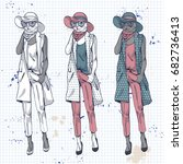 elegant women with pants  hat... | Shutterstock . vector #682736413