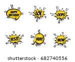 lettering lol  oops  wow  happy ...   Shutterstock .eps vector #682740556