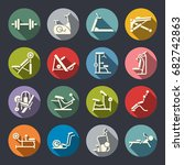 gym equipment vector icon set | Shutterstock .eps vector #682742863