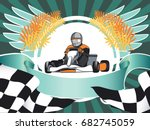 the winner came first. karting  ... | Shutterstock .eps vector #682745059