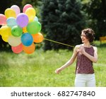 girl with colorful balloons... | Shutterstock . vector #682747840