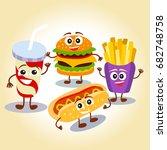 funny  cute fast food hamburger ... | Shutterstock .eps vector #682748758