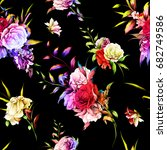 seamless background floral... | Shutterstock .eps vector #682749586