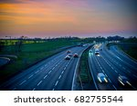 colourful sunset at m1 motorway ... | Shutterstock . vector #682755544