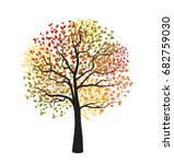 autumn tree with falling leaves | Shutterstock .eps vector #682759030