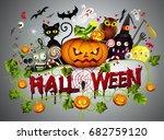 halloween party drawn halloween ... | Shutterstock .eps vector #682759120