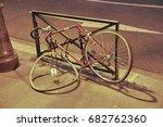 broken bicycle standing on the... | Shutterstock . vector #682762360
