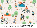 vector seamless pattern with... | Shutterstock .eps vector #682767730