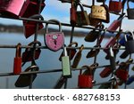 Colorful Padlocks Attached To A ...