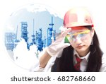 scientist with laboratory test ... | Shutterstock . vector #682768660