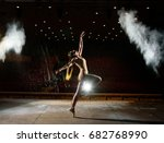 beautiful girl dancing on stage. | Shutterstock . vector #682768990