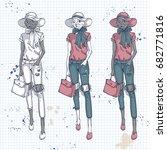 set  color sketch of female...   Shutterstock . vector #682771816