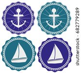 the emblem with the anchor and... | Shutterstock .eps vector #682779289
