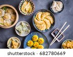 assorted dim sum appetizers on... | Shutterstock . vector #682780669