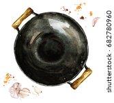 pan. watercolor illustration. | Shutterstock . vector #682780960