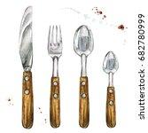 cutlery. watercolor...   Shutterstock . vector #682780999