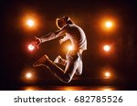 young man break dancer jumping... | Shutterstock . vector #682785526