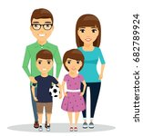 children with their parents.... | Shutterstock .eps vector #682789924