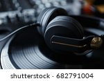 party dj stereo headphones.disc ... | Shutterstock . vector #682791004