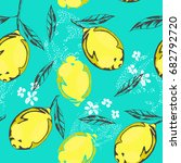 yellow lemons colored graphic... | Shutterstock .eps vector #682792720