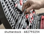 male hand holds a spanner above ...   Shutterstock . vector #682793254