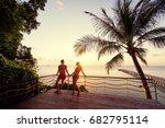 romantic dating. honey moon on... | Shutterstock . vector #682795114