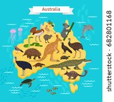 animals and birds on australia... | Shutterstock .eps vector #682801168