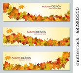 autumn colorful leaves vector... | Shutterstock .eps vector #682803250