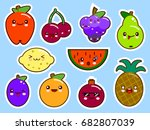 set of fruits smiley face... | Shutterstock .eps vector #682807039