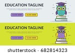 education web banners with... | Shutterstock .eps vector #682814323