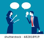 business person holding a happy ... | Shutterstock .eps vector #682818919