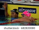 Small photo of Hong Kong, China - Oct 30, 2016. ATKINSON Alia (JAM) and Yulia YEFIMOVA (RUS) after the Women's Breaststroke 50m Final. FINA Swimming World Cup, Victoria Park Swimming Pool.