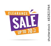 clearance sale orange purple 70 ... | Shutterstock .eps vector #682821964