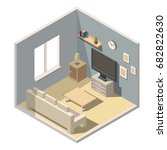 isometric living room interiors ... | Shutterstock .eps vector #682822630