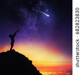 child observes starry sky with... | Shutterstock . vector #682823830