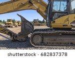 heavy equipment is seen behind... | Shutterstock . vector #682837378