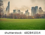 central park at rainy day  new... | Shutterstock . vector #682841014