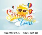 summer time vector banner... | Shutterstock .eps vector #682843510