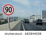 """road sign  sign """"speed limit 90""""... 