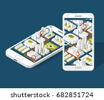 city isometric plan with road... | Shutterstock .eps vector #682851724