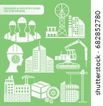 engineer and industry icon set... | Shutterstock .eps vector #682852780
